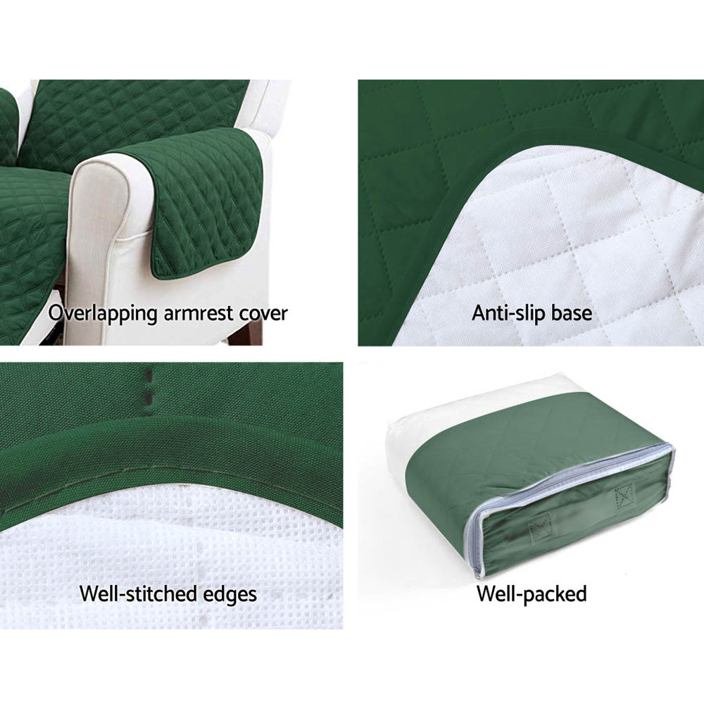 Artiss Sofa Cover Quilted Couch Covers Protector Slipcovers 3 Seater Green 7