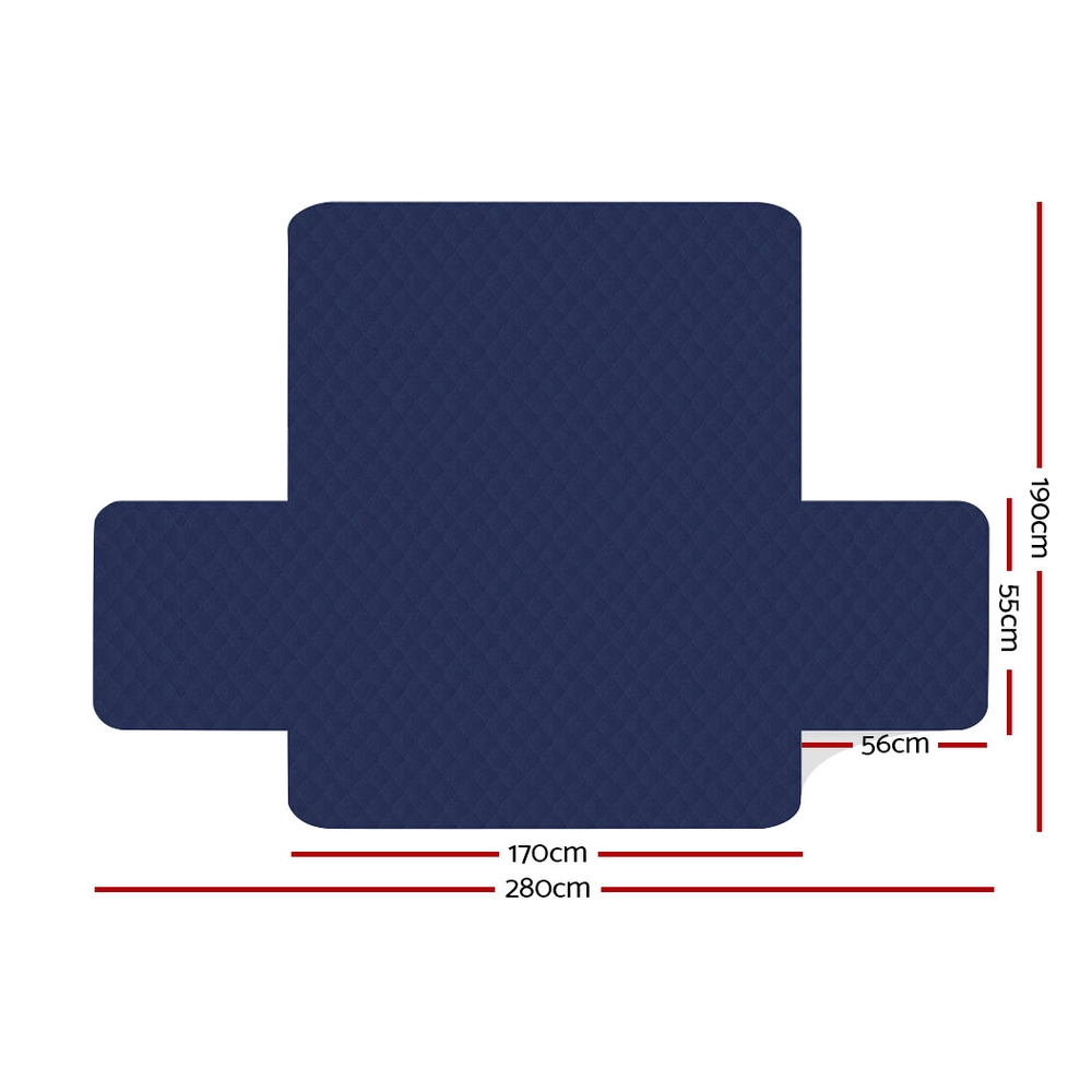 Artiss Sofa Cover Quilted Couch Covers Protector Slipcovers 3 Seater Navy 2