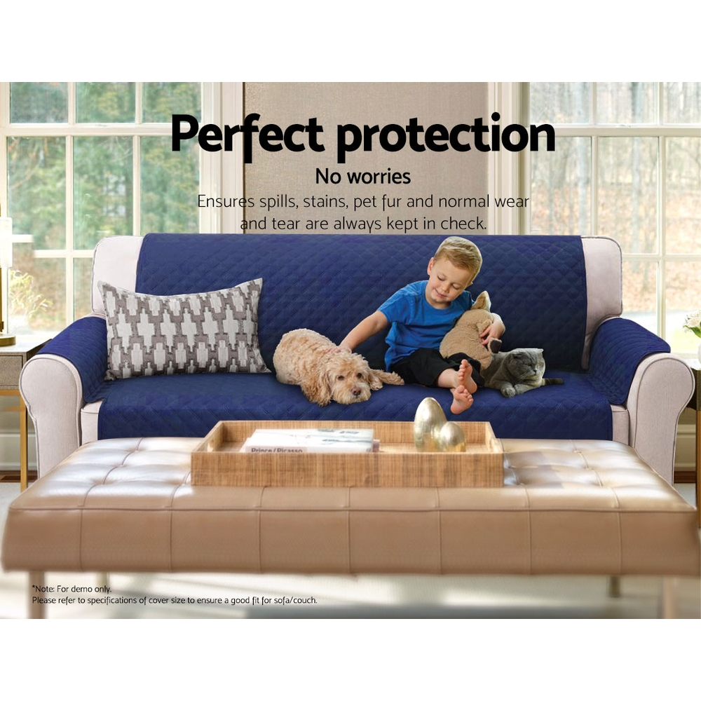 Artiss Sofa Cover Quilted Couch Covers Protector Slipcovers 3 Seater Navy 7