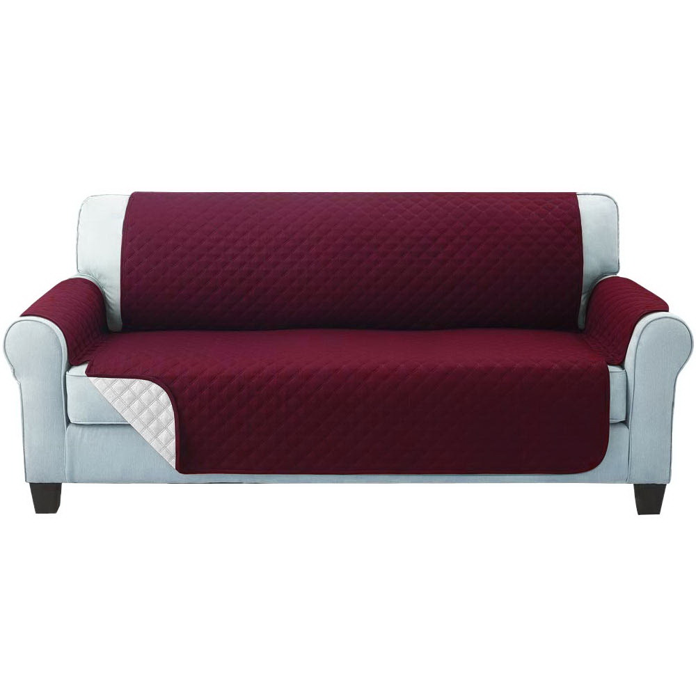Artiss Sofa Cover Quilted Couch Covers Protector Slipcovers 3 Seater Burgundy