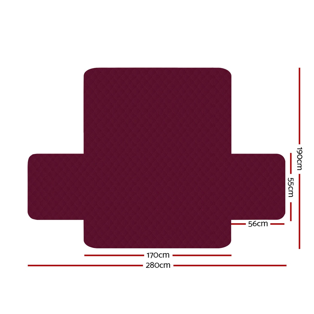 Artiss Sofa Cover Quilted Couch Covers Protector Slipcovers 3 Seater Burgundy 2