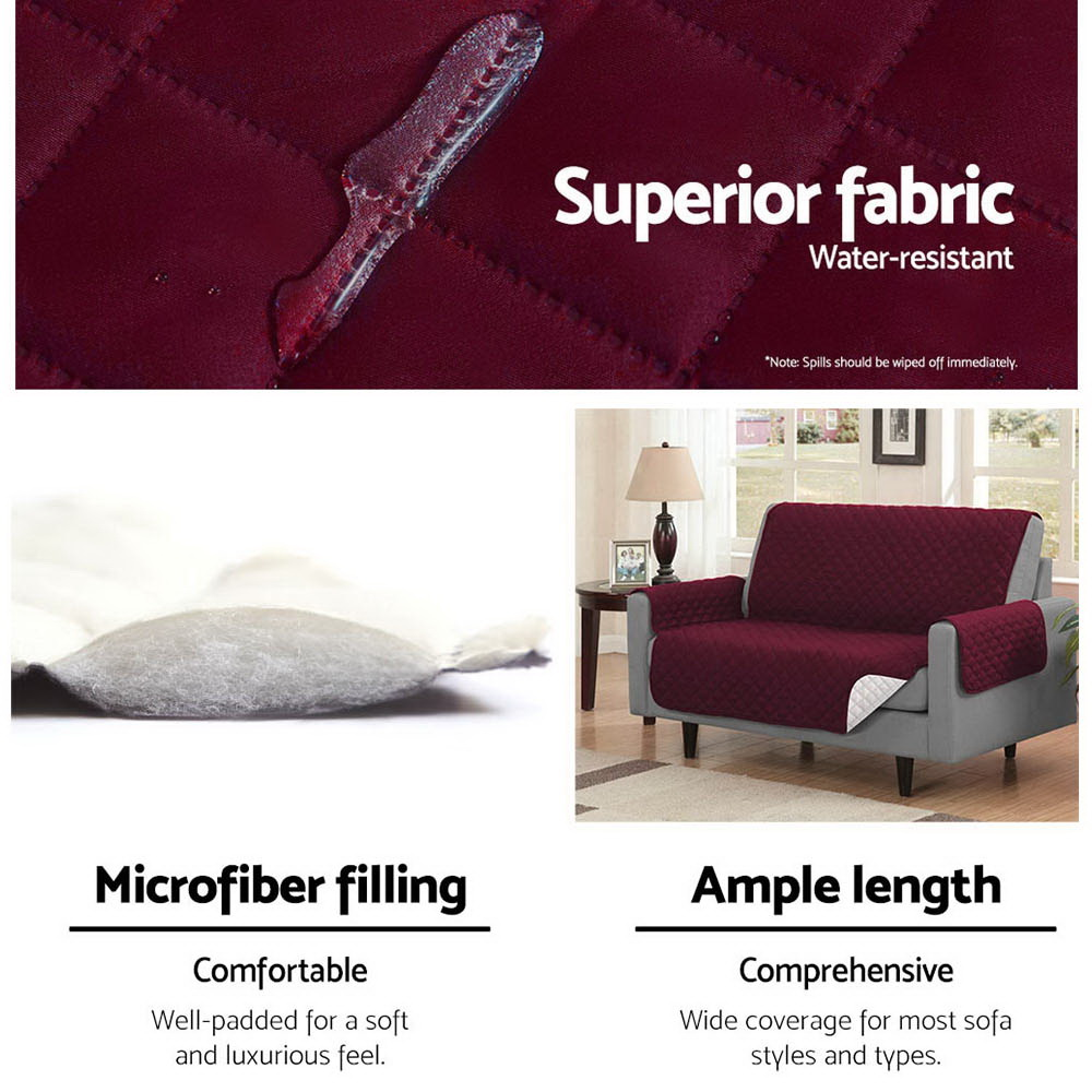 Artiss Sofa Cover Quilted Couch Covers Protector Slipcovers 3 Seater Burgundy 4