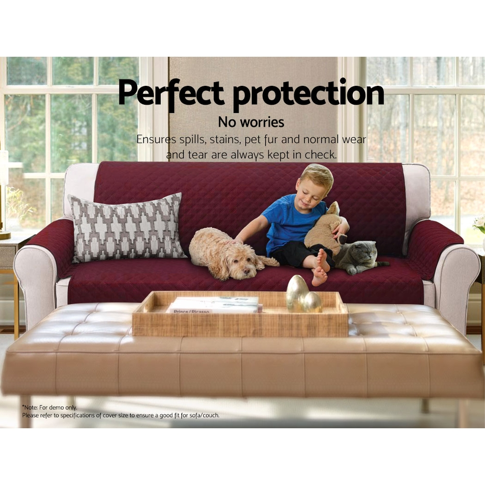 Artiss Sofa Cover Quilted Couch Covers Protector Slipcovers 3 Seater Burgundy 6