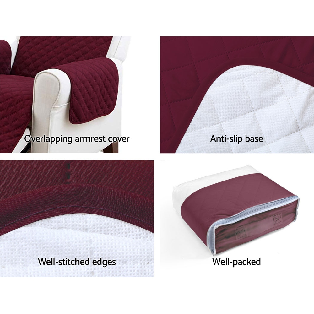 Artiss Sofa Cover Quilted Couch Covers Protector Slipcovers 3 Seater Burgundy 7
