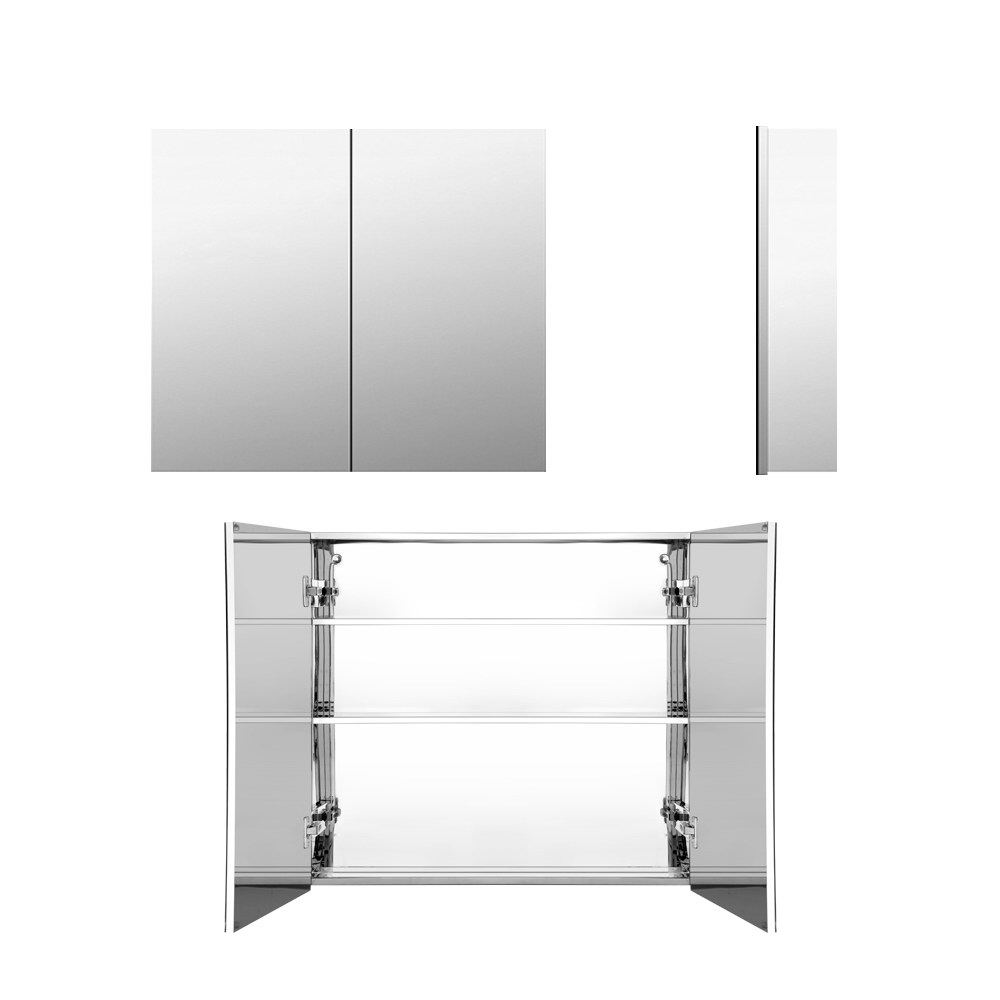Cefito Stainless Steel Bathroom Mirror Cabinet Vanity Shaving Medicine Storage 600x720mm Silver