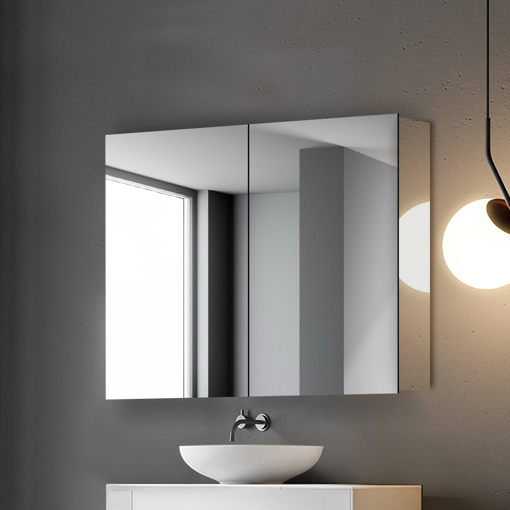 Cefito Stainless Steel Bathroom Mirror Cabinet Vanity Shaving Medicine Storage 750x720mm Silver 7