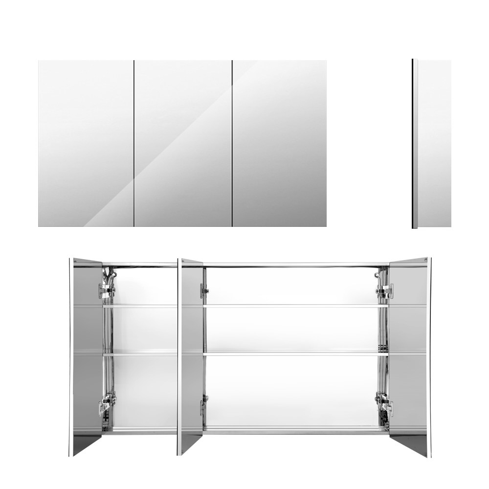Cefito Stainless Steel Bathroom Mirror Cabinet Vanity Shaving Medicine Storage 900x720mm Silver