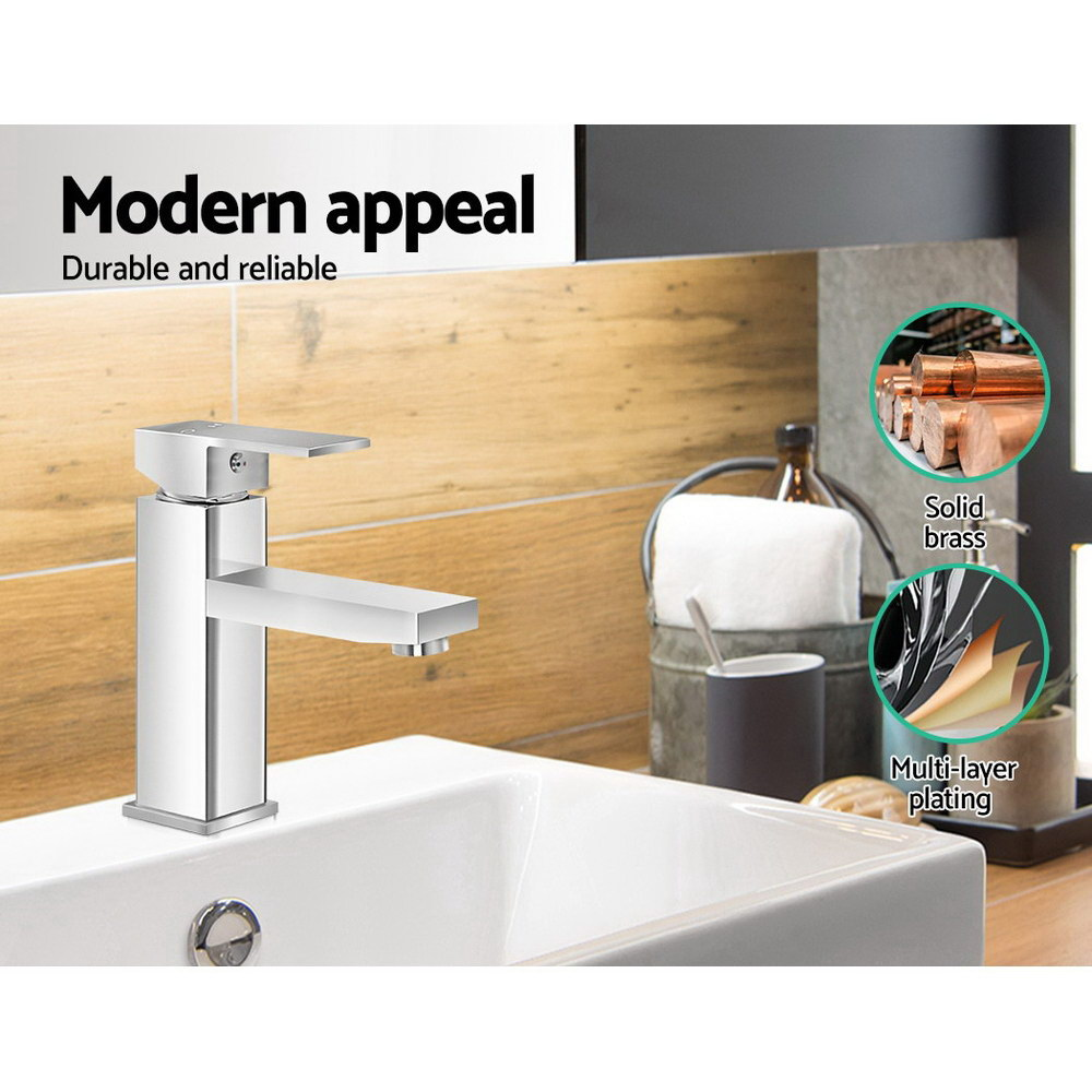 Cefito Basin Mixer Tap Faucet Bathroom Vanity Counter Top WELS Standard Brass Silver 4